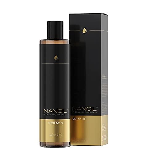Nanoil Mizellen shampoo mit Keratin – Mizellen shampoo mit Keratin, 300 ml, Regeneration und Reinigung, Stärkung der geschwächten Haare, gesunde Haare