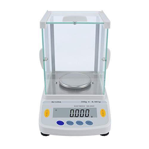 CHICTI Báscula Laboratorio Precisión 0,001g Balanza Analítica Electrónica con Parabrisas Vidrio Pantalla LCD Interfaz RS232 Escala Científica Pequeño (Size : 220g/0.001g)