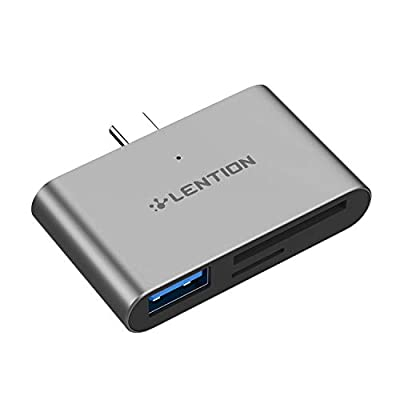 LENTION USB C to USB 3.0 + SD/Micro SD Card Readers Compatible with MacBook Pro (Thunderbolt 3), 2020-2016 New iPad Pro & Mac Air, MacBook 12, Chromebook, Surface Book 2/Go, More (CS15, Space Gray)