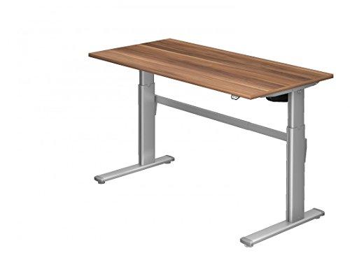 Preisvergleich Produktbild Steh-Sitz-Schreibtisch DR-Büro XM - 160 x 80 cm - in 7 Farbenvarianten - elektrisch höhenverstellbar bis 119 cm - Gestell Silber,  Farbe Büromöbel:Zwetschge