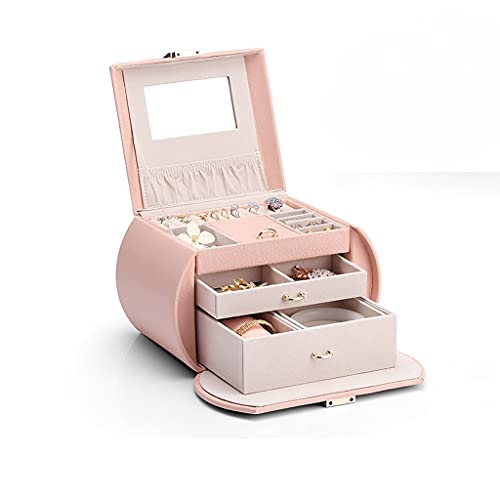 HUYHUJ Pendientes de Caja de joyería de Nueva joyería Pendientes y Collar Mirror componen el Almacenamiento con el Soporte de los Casos de Bloqueo (Color : Pink)