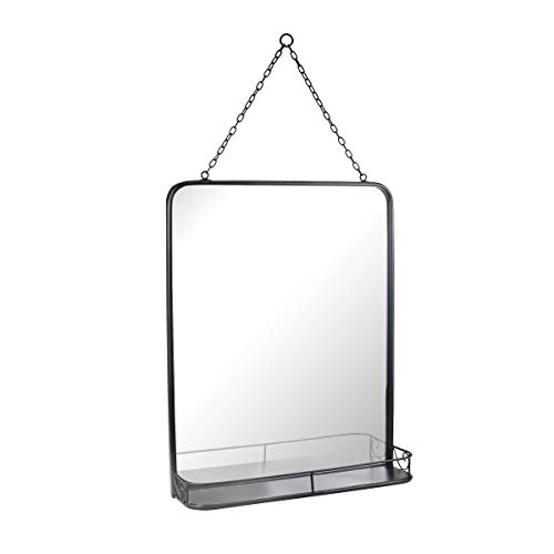 Stonebriar SB-6259A Rectangle Black Metal Wall Mirror with Hanging Chain and Shelf, 20.4' x 16.1'
