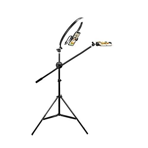 10' GUIDATO Selfie Ring Light, 3 Colori Lampada da Terra dimmerabile con Supporto treppiede e Supporto per Telefono, USB Alimentato (Color : Black)