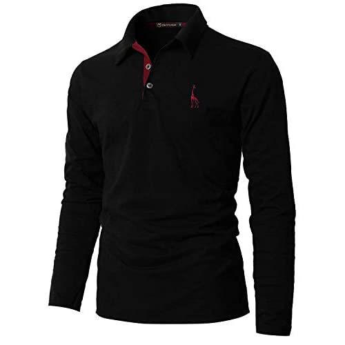 GHYUGR Mens Long Sleeve Polo Shirts with Fashion Embroidery Polos S-2XL