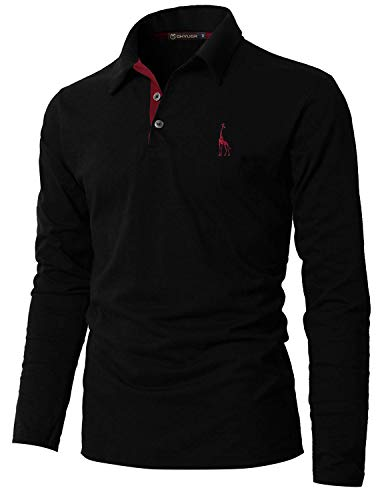 GHYUGR Polo Manica Lunga da Uomo Elegante Giraffa Ricamo Lavoro Golf Tennis Poloshirt Camicianero,XL