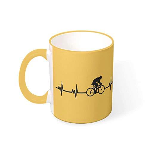 DAMKELLY Store Tazas de café para ciclismo, latido del corazón, cerámica lisa, retro, modernas, para oficina, aniversario, rod dorado de 330 ml
