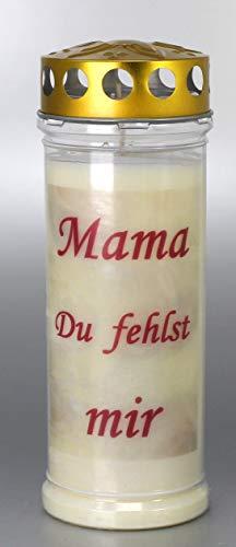 Kerzen Junglas Grablichtkerze, Grabkerze, Mama Du fehlst Mir - 21x7,5 cm - 3897 - ca. 7 Tage Brenndauer – Grablichter mit Spruch - Trauerkerze mit Spruch