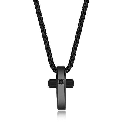 BROSWAY - Collana in pvd nero con pendente croce lucido e cristallo Swarovski bianco BROSWAY BRX14
