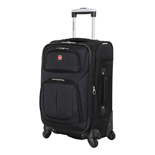 SwissGear Sion Softside Luggage with Spinner Wheels, Black, Carry-On 21-Inch
