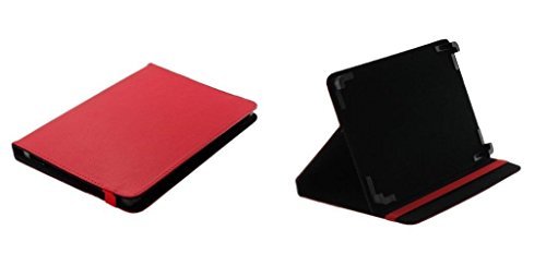 Markenlos Bookstyle Tablet Hülle Tasche Book Hülle Rot + Standfunktion Medion LifeTab X10607 Tablet schwarz (MD 60658)