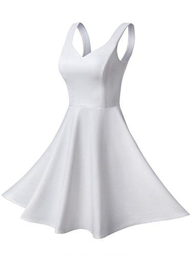 Missufe Women's Sleeveless Sweetheart Flared Mini Dress (Medium, White 02)