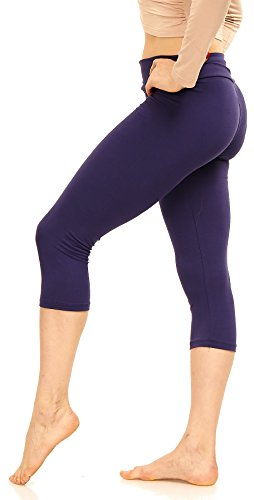 LMB Store Extra Soft Capri Leggings with High Yoga Wast - Many Colors - XS to 3XL (One Size (XS - L), Deep Purple)