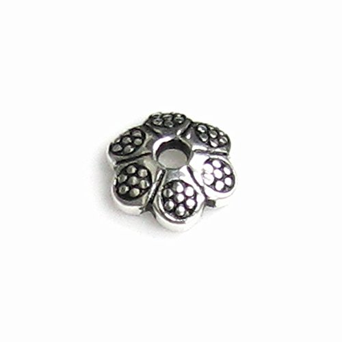 6 pcs Antique 925 Sterling Silver Round Daisy Dot Flower Pearl Bead Cap 5.3mm