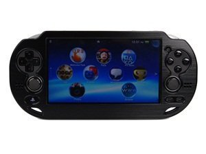 Case Star ® Hard Case/Cover plus 1 PCS of LCD Screen Protector for Playstation PS VITA with Case Star Velvet Bag (Aluminum-Black+ Clear LCD Screen Protector)
