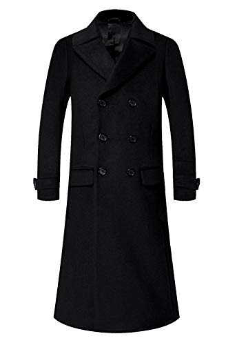 APTRO Men's Double Breasted Full Length Wool Trench Coat Quilted Lining Slim Fit Long Top Coat (Black full length S18, X-Large)
