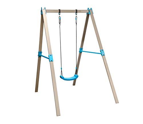 HUDORA 64024 Vario Basismodul V-Individuell konfigurierbare Garten-Schaukel inkl. Brettschaukel, beige/blau, 2,10 x 1,20 x 2,06 m