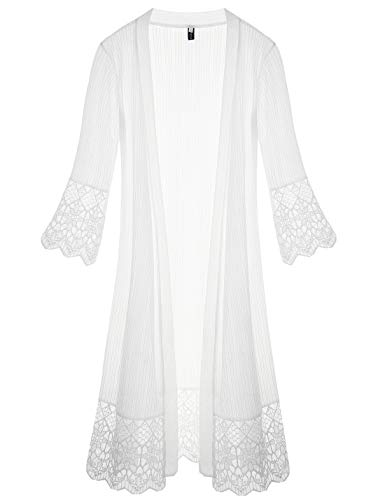 Tanming Women's Sexy V Neck Short Sleeve Lace Mesh Sheer Chiffon Rompers Maxi Dress (XX-Large, White)