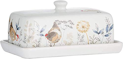 Weiß Beige Land Hennen Dolomite Butterdose Ess Geschirr