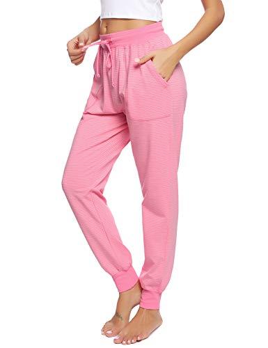 Hawiton Damen Schlafanzughose lang Pyjamahose Baumwolle Gestreifte Nachtwäsche Hose für Sport,Jogging,Training,Yoga Pink L