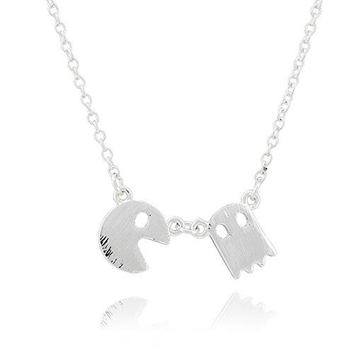 Selia Pacman Play Halskette Spiel Game Kette minimalistisch handgemacht (Silber)
