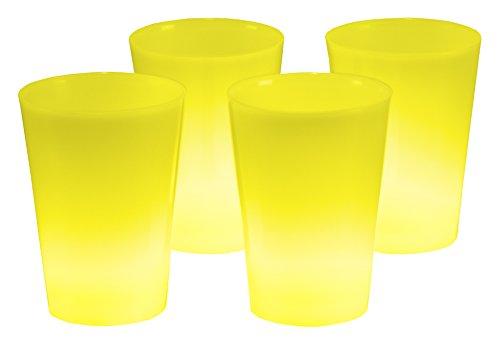 4er Set Knicklicht Becher Knick Leuchtbecher, Cocktailbecher, Trinkbecher 350 ml Gelb Trinkglas Cocktailglas beleuchtet