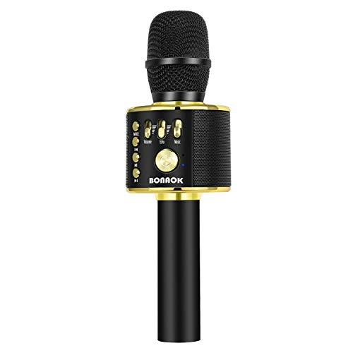 BONAOK Wireless Bluetooth Karaoke Microphone,3-in-1 Portable Handheld karaoke Mic Speaker Machine Christmas Birthday Home Party for Android/iPhone/PC or All Smartphone(Q37 Black Gold)