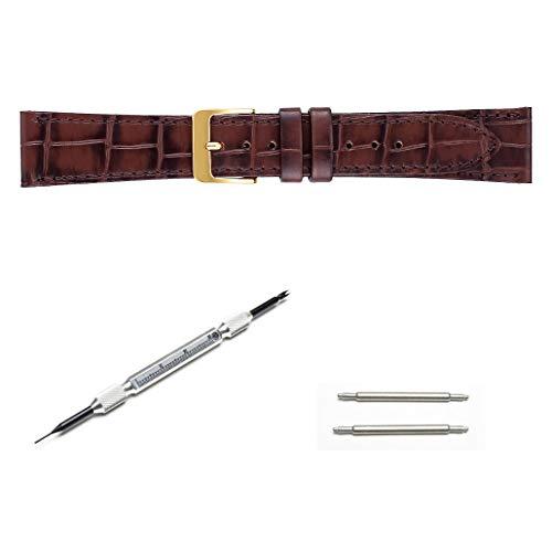 (交換工具&バネ棒付き) 時計ベルト 腕時計ベルト SEIKO セイコー 純正 牛革 レザー ワニタケフ型押 はっ水 ステッチ付 マット調 メンズ 抗菌防臭 茶 バンド幅-美錠幅:17mm-14mm DXL1
