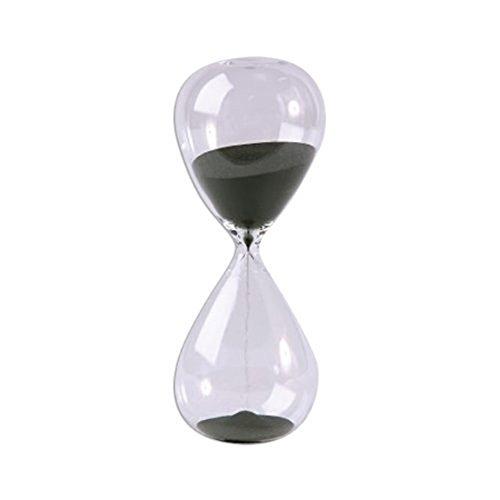 Winterworm - Clessidra grande, funzione timer, trasparente, superficie liscia, in vetro, per casa, decorazione, Natale, compleanno, regalo 30 Minutes Nero
