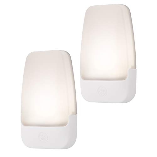 GE LED Night Light, 2 Pack, Plug-In, Dusk-to-Dawn Sensor, Home Décor, Ideal for Bedroom, Nursery, Bathroom, Hallway, Soft, 30966, White | Automatic, 2