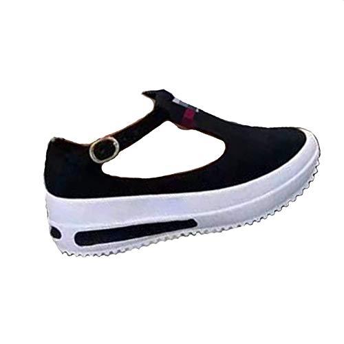 AMYGG Mocasines Retro de Color Sólido con Punta Redonda para Mujer, Zapatos Casuales para Caminar, Zapatos de Tacón Bajo con Punta Redonda, Zapatos Individuales con Hebilla