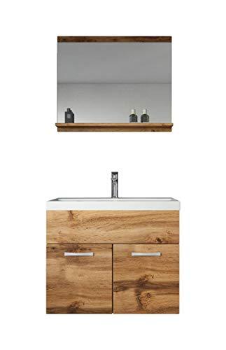 Badplaats B.V. Badezimmer Badmöbel Set Montreal 02 60cm Waschbecken Braun - Unterschrank Waschtisch Spiegel Möbel