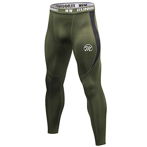 MEETWEE Kompressionshose Herren, 3/4 Laufhosen Sport Leggings Atmungsaktiv Funktionsunterhose Tights Unterhose Lange-grün, XXL