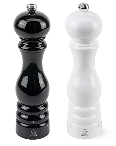 Peugeot Paris U'Select Lacquer Salt And Pepper Mill Set 8 3/4', Black And White