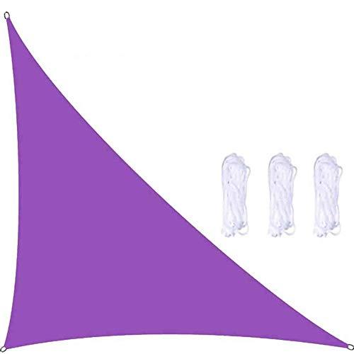 Toldo de vela triangular, ángulo recto, 98% de bloqueo UV, impermeable, grande, para patio, patio, patio trasero, césped, color morado