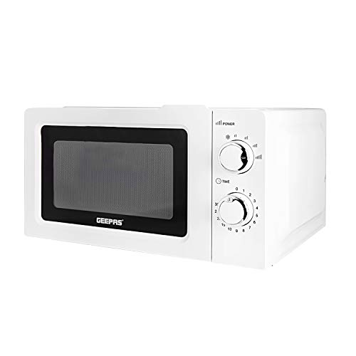 Geepas 700 W Solo Manual Microwave – 20L Solo Microwave Oven with 5 Power Levels - Reheating, Defrost Function & 30 Minute Timer - 2 Rotary Dials, Easy Clean - Oven for Standard Size of Dinner Plate