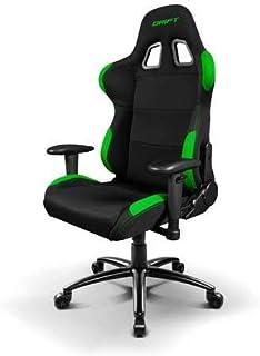 Drift DR100BG - Silla Gaming profesional, tela, reposabrazos 2D, piston clase 4, asiento basculante, altura regulable, respaldo reclinable, cojines lumbar y cervical, color negro/verde