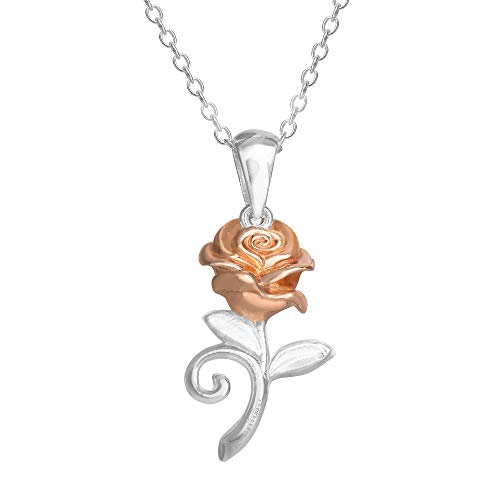 Disney Beauty and the Beast, Sterling Silver Two Tone Rose Pendant Necklace, 18' Chain