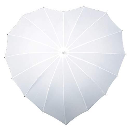 Regenschirm Herz Stockschirm Herzform weiß Schirm Hochzeit Partnerschirm fiberglas Aluminium
