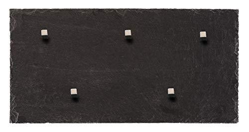 Board Boulevard Schiefer Magnettafel (Echt Massiver Stein) ! 50 cm x 25 cm - Pinnwand Kreidetafel inkl. 5 Neodym Magnete aus Spanischem Bergbauvorkommen