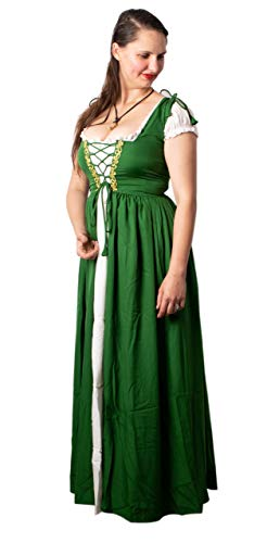 Mythrojan Women's Renaissance Cosplay Costume Medieval Reminisce Irish Costume Chemise and Over Dress - Green Color, Size : S/M