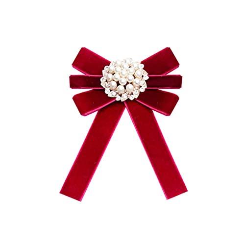 SHIYONG, versión de Corbata de broches de Lazo de Perlas Retro, Accesorios de Camisa de Estilo Universitario para Mujer, Regalo, Ramillete de Tela de Color sólido