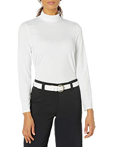 PGA TOUR Damen Long Sleeve Mock Neck Golf-T-Shirt, Bright White, Mittel