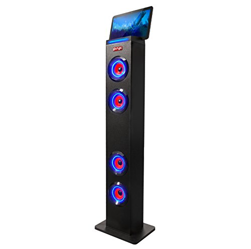 Sumvision PYSC Wireless Bluetooth LED Tower Speaker Torre XL Bluetooth Tower Speakers Stand for PC phone Iphone Ipad Samsung Galaxy with built in radio