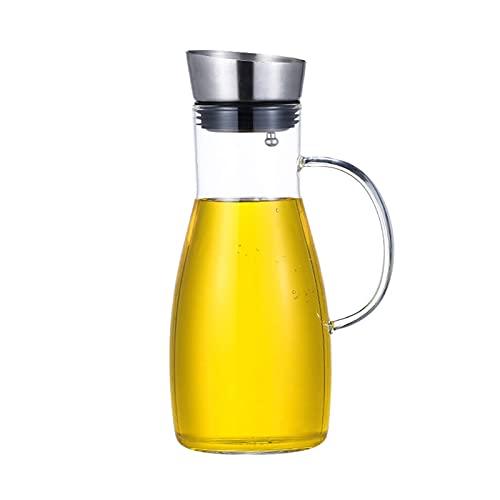 Jarra de Vidrio con Tapa, Jarra de Vidrio con asa y Pico, para té Helado, Jugo, Limonada, sangría, Agua de Frutas, 1200 ml