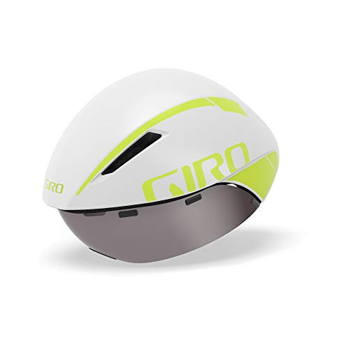 Giro Aerohead MIPS Casco Aero/Tri, Unisex, Blanco Mate/limón, M