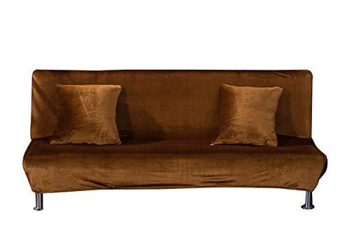 Copridivano pieghevole elasticizzato senza braccia Futon copridivano in morbido velluto a T, cuscino a T per letto e salotto, rimovibile, tinta unita, 120-155 cm, colore marrone chiaro