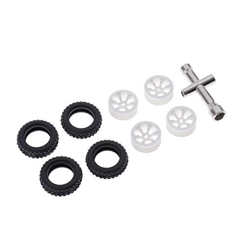 NLLeZ 1set 1:28 Crawnler Buggy Car RC Neumáticos y Llantas Modelo de reemplazo K989 Accesorios