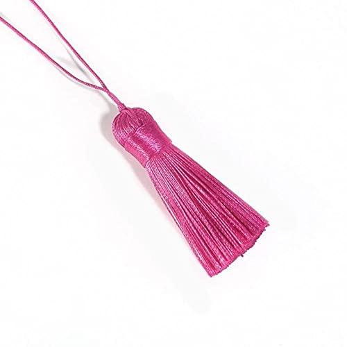 10 unids / Lote de Flecos de Borla de Seda de poliéster, Borla de algodón de 5,5 cm para decoración de Fiesta de Boda en casa, Accesorios de Cortina de Costura DIY, Fucsia