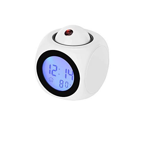 JJZST Reloj de proyector con Pantalla LED con luz de Fondo Reloj Despertador Giratorio con batería para decoración de Dormitorio en casa