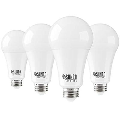Sunco Lighting 4 Pack A21 LED Bulb 22W=150W, 2700K Soft White, 2550 LM, E26 Base, Dimmable, Indoor Light for Lamp - UL & Energy Star